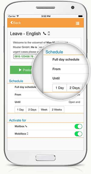 Enterprise Voicemail - Schedule telephone messages with calendar function
